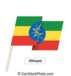 Ethiopia Ribbon Waving Flag Isolated on White. Vector ...