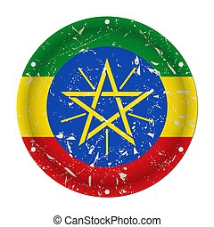 Ethiopia - round metal scratched flag, screw holes