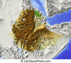 Ethiopia. Shaded relief map. Surrounding territory greyed out. Colored according to elevation. Includes clip path for the state area.