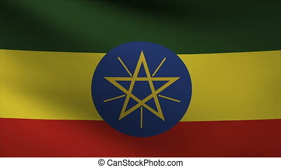 ethiopia flag waving gently in wind