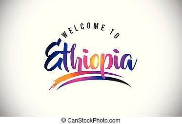 Ethiopia Welcome To Message in Purple Vibrant Modern Colors.
