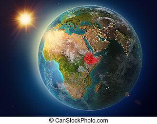 Ethiopia with sunset on Earth