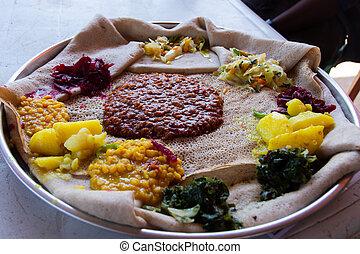 ethiopian, alimento, típico, firfir, injera