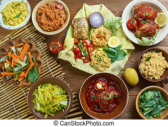 Ethiopian cuisine, Traditional assorted African dishes, Top ...