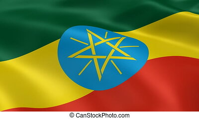 Ethiopian flag in the wind