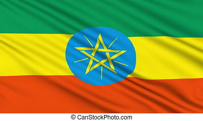 Ethiopian flag, with real structure of a fabric