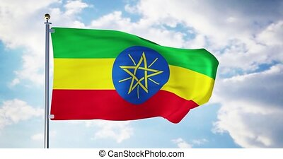 Ethiopian flag waving in the wind shows ethiopia symbol of patriotism. Flagpole with national patriotic insignia - 4k 3d render
