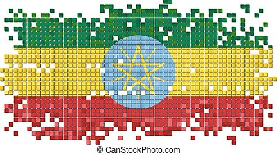 Ethiopian grunge tile flag. Vector