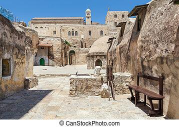 Ethiopian part of the church in Jerusalem.