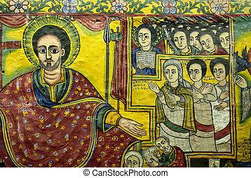 ethiopian, pinturas, igreja