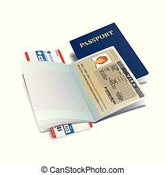 ethiopie, vecteur, visa, passeport, international