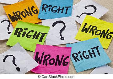 ethisch, falsche , recht, frage, oder