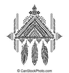 ethn, mexicano, tribal, ornamento, aztec, vetorial, africano, sonho, catcher.
