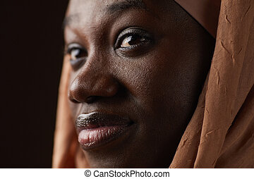 Ethnic African-American Woman Extreme Close Up