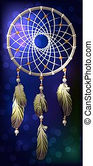 Ethnic American Dreamcatcher on blue abstract background