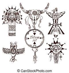Ethnic american totems set