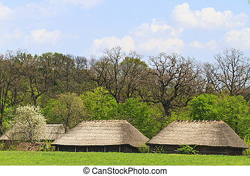 Ethnic ancient building in beautiful spring scenery