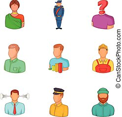 Ethnic background icons set, cartoon style