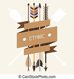 Ethnic background with indian arrows in native style