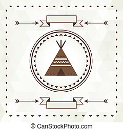 Ethnic background with wigwam in navajo design.