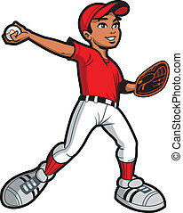 Ethnic Baseball Pitcher - Ethnic Young Man Baseball Softball...