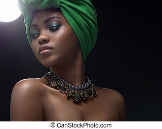 Ethnic beauty - Beautiful young african girl in the studio