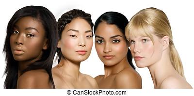 Ethnic Beauty - Multi-ethnic group of young women: African,...