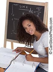 ethnic black college student woman studying math exam