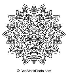 Ethnic boho doodle floral mandala. Vector illustration