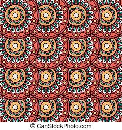 Ethnic boho floral rosettes seamless pattern