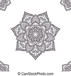 Ethnic boho seamless-pattern, coloring pages template. Vector il