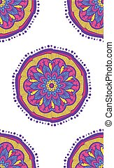 Ethnic Boho Seamless Pattern. Mandala Ornament for print,...