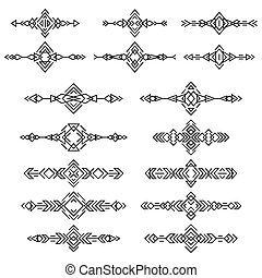 Ethnic borders set isolated on white background. Collection of boho tribal elements. Line style art.
