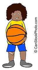 ethnic boy hanging on to basketball - illustration