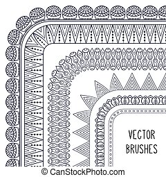 Ethnic brush collection. Vintage decorative elements....