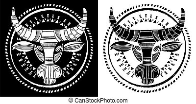 Ethnic bull, black and white, hand drawn vector illustration. 2021 year of the cow