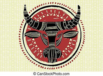 Ethnic bull, hand drawn vector illustration. 2021 year of the cow