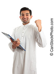 Ethnic business man success achievement - happy ethnic...