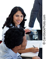 Ethnic businesswoman in a meeting
