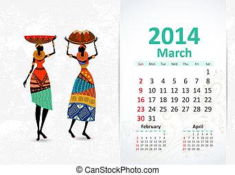 Ethnic Calendar 2014 march