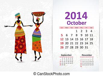 Ethnic Calendar 2014 october