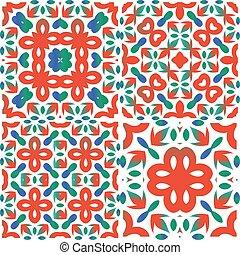 Ethnic ceramic tiles in mexican talavera.