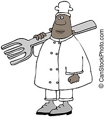 Ethnic chef carrying a giant fork