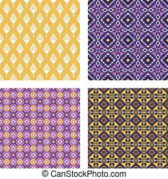 Ethnic colored seamless patterns