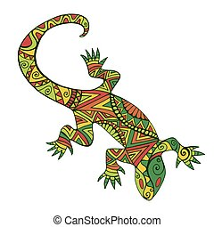 Ethnic colorful lizard with many ornaments, isolated on white background.