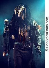 ethnic costume - Ancient shaman warrior. Ethnic costume....