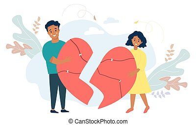 Ethnic couple holding broken halves of the heart. Blacks Man and woman reunite, uniting cracked heart. Vector. Concept of love, restoration of relationships and family, conflict resolution, teamwork