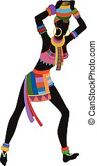 Ethnic dance african woman - African woman in bright...