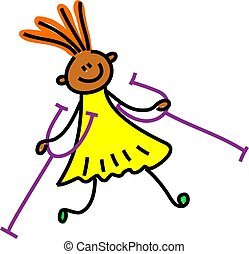 ethnic disabled girl with crutches - toddler art series