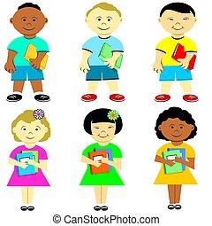 Ethnic Diverse School Kids Holding Books